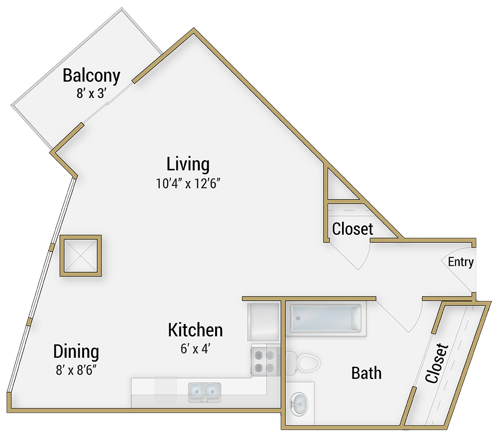 one and two bedroom apartments in san francisco for rent at embarcadero studio 1 bathroom enlarge floor plan